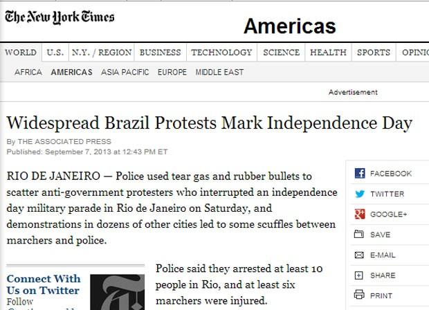 'The New York Times' relata os protestos em cidades brasileiras neste sábado (7) (Foto: Reprodução/New York Times)