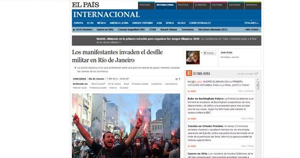 El País destaca a invasão ao desfile militar no Rio de Janeiro (Foto: Reprodução/El País)