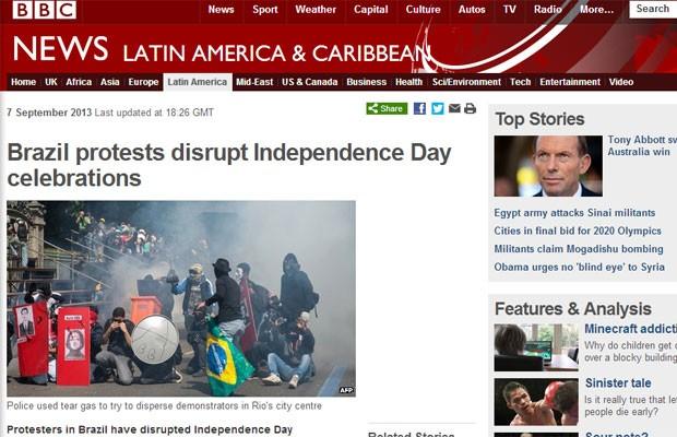 Rede britânica BBC destacou protestos no Brasil em sua página na internet (Foto: Reprodução/BBC)