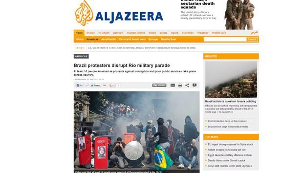 AlJazeera publicou reportagem sobre protestos no Brasil (Foto: Reprodução/AlJazeera)