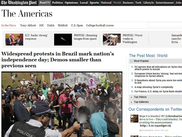 O 'Washington Post' também publicou reportagem sobre manifestações no Brasil neste 7 de setembro (Foto: Reprodução/Washington Post)