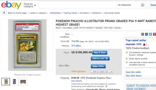 Usuário do eBay pede US$ 100 mil por carta rara; só seis foram fabricadas (Foto: Reprodução/Ebay)