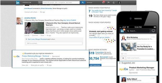Imagem da modalidade de anúncios 'empregos patrocinados', que começam a ser exibidos no aplicativo do LinkedIn (Foto: Divulgação)