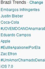Trending Topics no Brasil às 17h10. (Foto: Reprodução/Twitter.com)