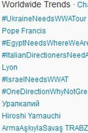 Trending Topics no Mundo às 17h16. (Foto: Reprodução/Twitter.com)