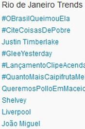 Trending Topics no Rio às 17h13. (Foto: Reprodução/Twitter.com)