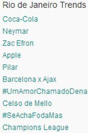 Trending Topics no Rio às 17h05. (Foto: Reprodução/Twitter.com)