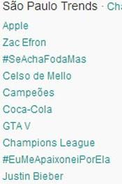 Trending Topics em SP às 17h06. (Foto: Reprodução/Twitter.com)