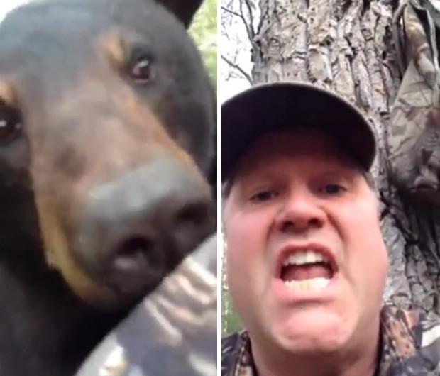 Caçador canadense gravou momento em que ficou cara-a-cara com urso, depois que animal escalou árvore (Foto: YouTube/Reprodução/Jeffrey Moffatt)