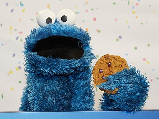 Monstro Cookie durante evento de aniversário da Vila Sésamo em janeiro, em Hamburgo, na Alemanha (Foto: Georg Wendt/DPA/AFP)