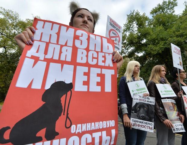 """Manifestante segura cartaz que diz """"A vida tem o mesmo valor para todos"""", em protesto contra matança de vira-latas. (Foto: AFP Photo/Sergei Supinsky)"""