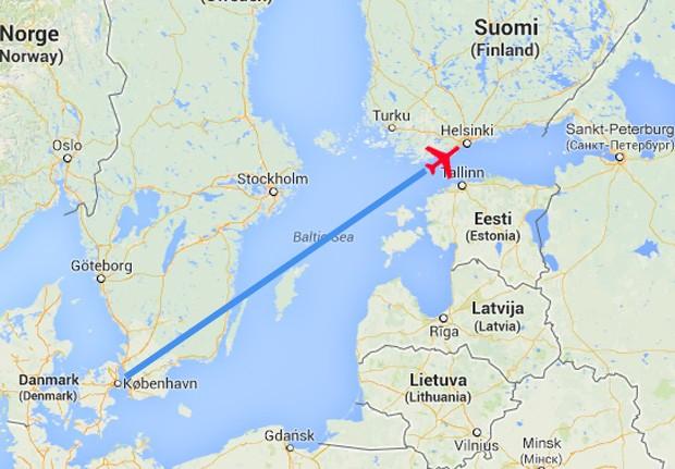 Voo AY666 saiu de Copenhague, na Dinamarca, em uma sexta-feira 13 com destino a HEL, abreviação da cidade de Helsinque, na Finlândia (Foto: Reprodução/Google Maps)