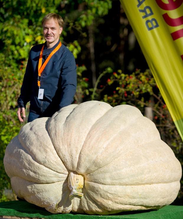 Com uma abóbora de 672 quilos, o agricultor Erik Haase conquistou o título (Foto: Patrick Pleul/DPA/AFP)