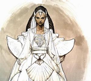 Rascunho do vestido de noiva da Rainha Amidala (Foto: Iain McCaig/Lucas Arts)