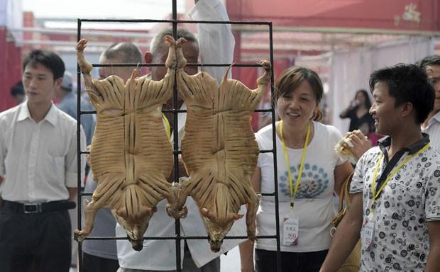 Visitantes observam porcos sendo assados durante a competição (Foto: Stringer/Reuters)