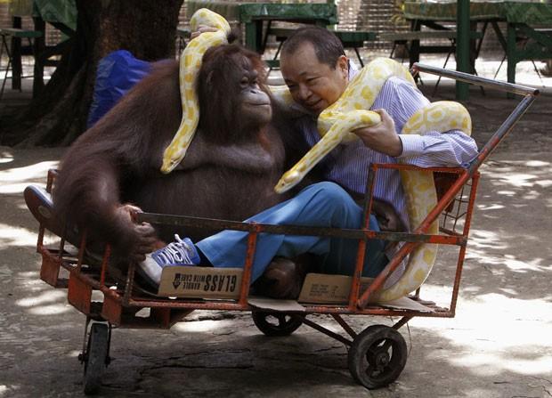 Dono do parque, Manny Tangco, colocou os animais juntos para lembrar o Dia Mundial dos Animais (Foto: Romeo Ranoco/Reuters)