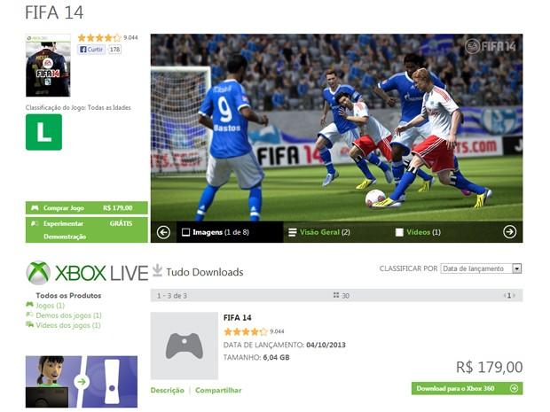 'Fifa 14' por download no Xbox 360 custa R$ 180, R$ 20 a menos do que versão em disco (Foto: Reprodução/Xbox Live)