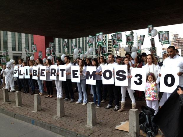 Ativistas do Greenpeace pedem a libertação dos 30 detidos, incluindo uma brasileira, na Rússia (Foto: Eduardo Carvalho/G1)