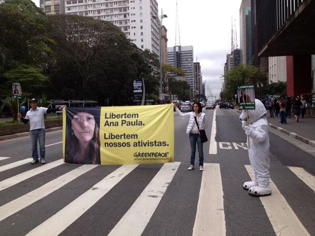 Ativistas do Greenpeace seguram faixa na Avenida Paulista durante manifestação realizada neste sábado (Foto: Eduardo Carvalho/G1)