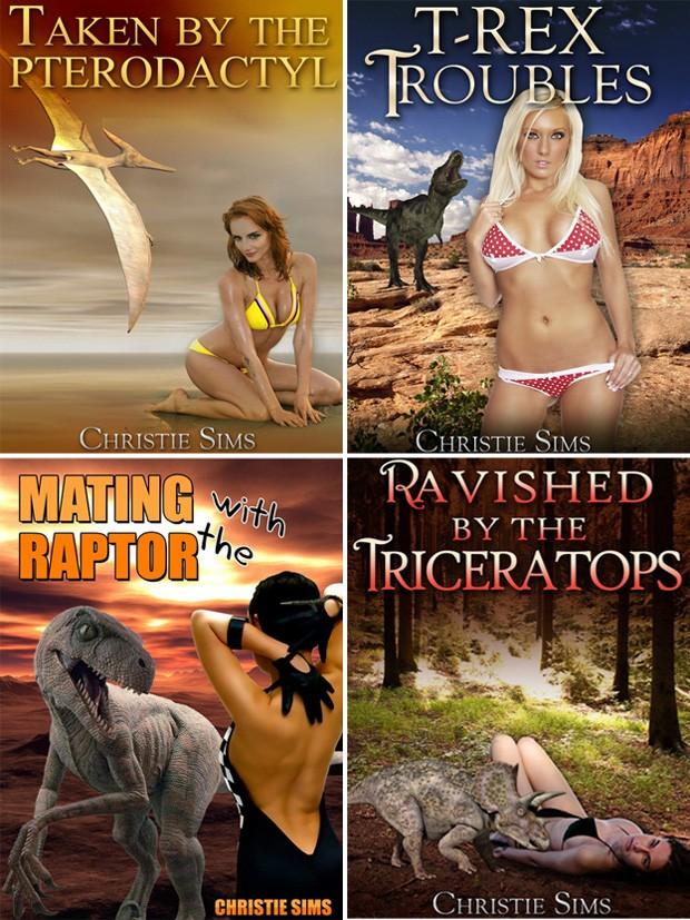 Títulos da escritora Christie Sims incluem 'Pega por um Pterodáctil', 'Problemas com T-Rex', 'Acasalando com um Velociraptor' e 'Violada por um tricerátops' (Foto: Reprodução/Amazon/Christie Sims)
