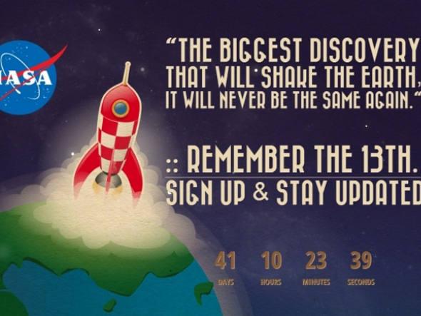 Site com logo da NASA estaria anunciando uma grande revelação em breve! O que será?