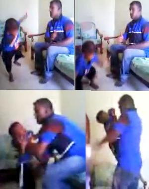 Frames do vídeo que mostra um homem espancando uma criança! (foto: Reprodução/Facebook)