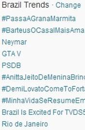Trending Topics no Brasil às 17h19. (Foto: Reprodução/Twitter.com)