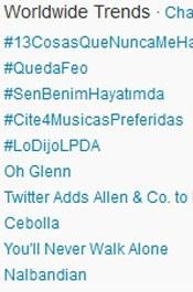 Trending Topics no Mundo às 17h19. (Foto: Reprodução/Twitter.com)