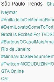 Trending Topics em SP às 17h08. (Foto: Reprodução/Twitter.com)