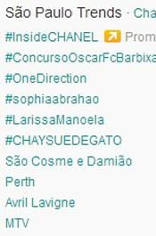 Trending Topics em SP às 17h18. (Foto: Reprodução/Twitter.com)