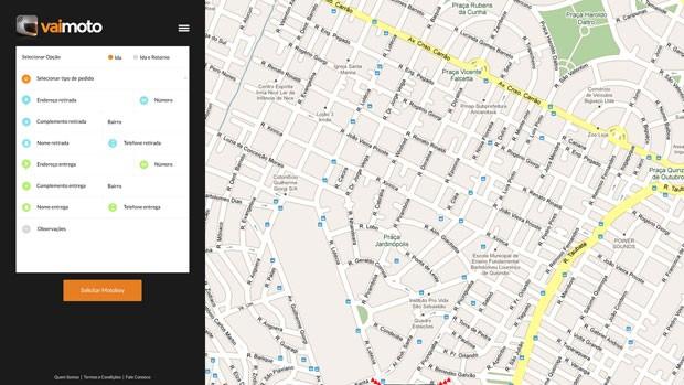 Tela do aplicativo VaiMoto, que permite a contratação de serviços de motoboy diretamente e negociação de preço. (Foto: Divulgação)