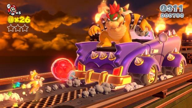 Nova imagem de 'Super Mario 3D World' mostra o herói com a roupa de gato enfrentando o vilão Bowser (Foto: Divulgação/Nintendo)