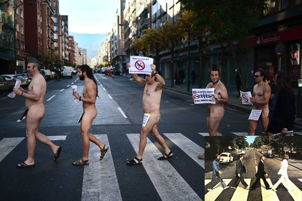 Grupo protestou nu contra o corte de serviços sociais (Foto: Vincent West/Reuters)