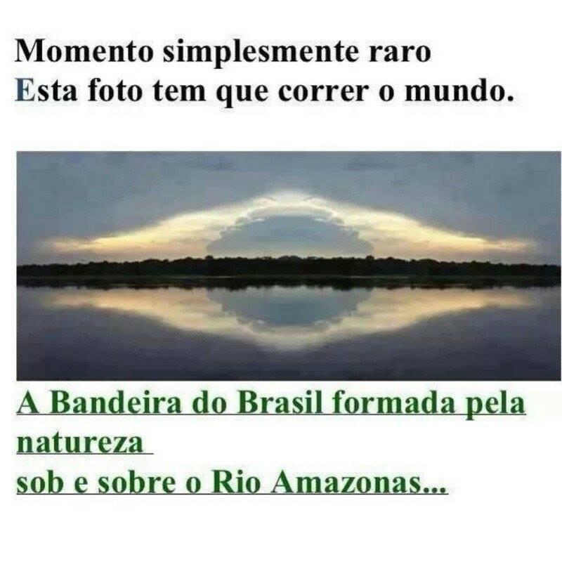 Foto mostra o que parece ser a bandeira do Brasil no rio Amazonas! Verdade ou farsa? (foto: Reprodução/Facebook)