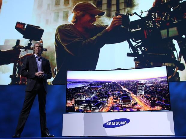 Michael Bay participa de evento da Samsung durante a CES 2014, nesta segunda (6), em Las Vegas, Nevada, EUA (Foto: Justin Sullivan/Getty Images/AFP)