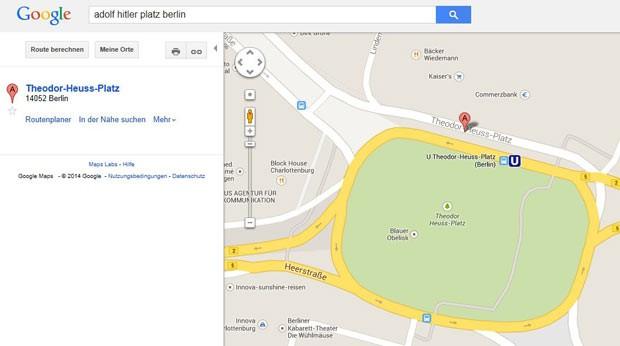 Tela do Google Maps Theodor-Heuss-Platz, resultando de busca por Adolf-Hitler-Platz, nesta sexta-feira (10) (Foto: AFP)