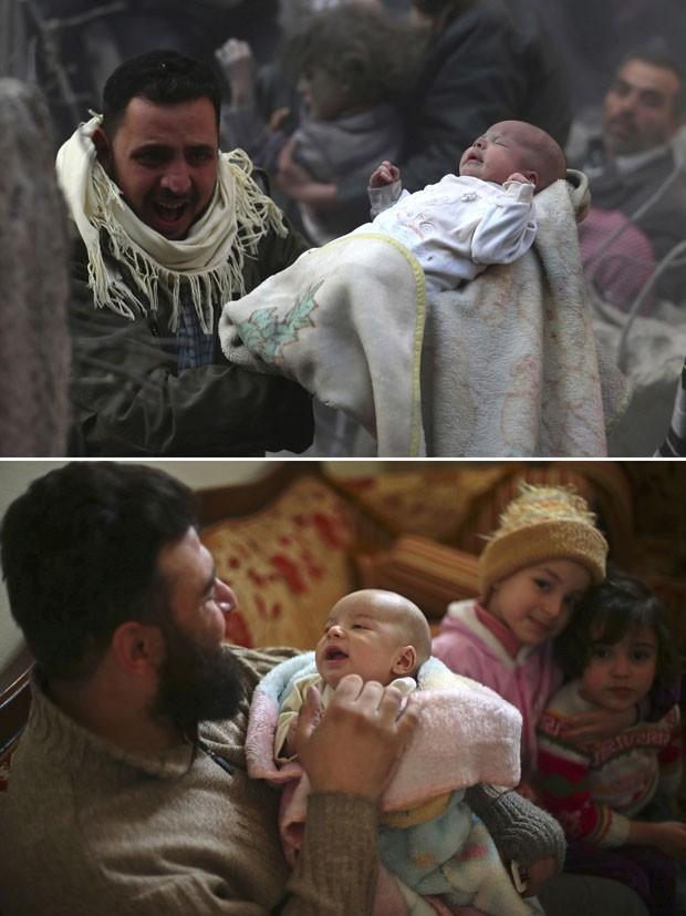 O bebê Rateb Mally logo após ser resgatado do meio de escombros (topo) e com o pai uma semana após ter sobrevivido a uma explosão em Damasco (Foto: Bassam Khabieh/Reuters)
