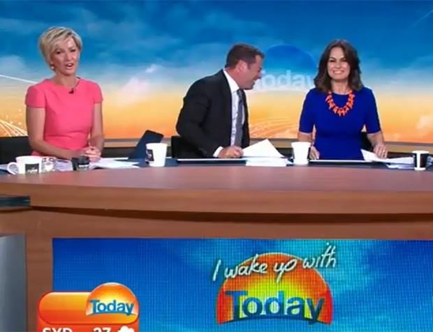 Karl Stefanovic teve ataque de riso após colega fazer piada de duplo sentido sem querer durante programa na Austrália (Foto: Reprodução/YouTube/IWakeUpWithTODAY)