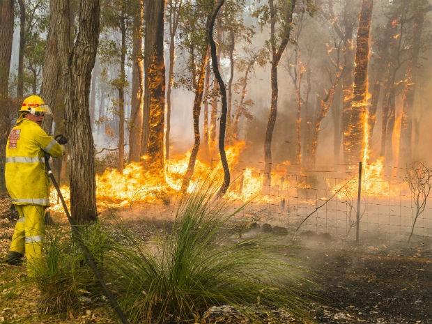 Bombeiro combate incêndio em Perth, no oeste da Austrália. (Foto: AP Photo/Department of Fire and Emergency Services, Evan Collis)