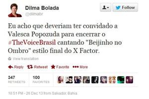 O perfil humorístico Dilma Bolada comenta no Twitter a final do The Voice Brasil, da TV Globo. (Foto: Reprodução/Twitter)