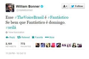 Willian Bonner, editor-chefe e apresentador do Jornal Nacional, comenta no Twitter a final do The Voice Brasil, da TV Globo. (Foto: Reprodução/Twitter)