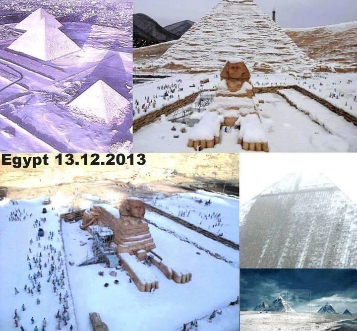 Imagens mostram neve cobrindo pirâmides e Esfinge no Egito! Verdadeiras ou falsas? (foto: Reprodução/Facebook)