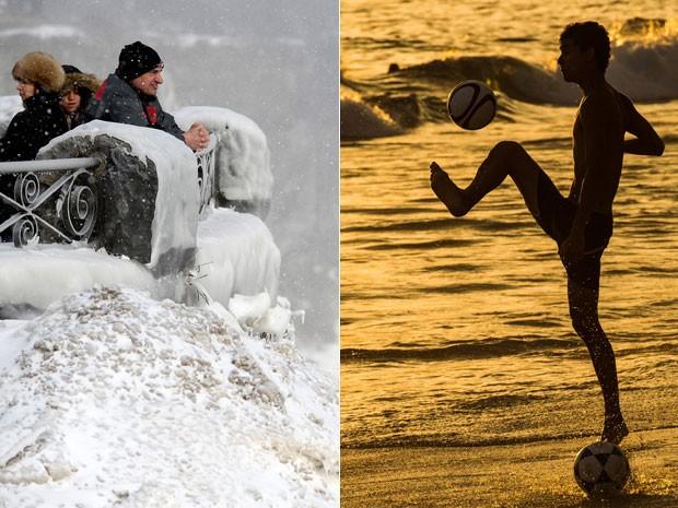 Cachoeira do Niágara congelada, no Canadá, e calor na Praia de Ipanema, no Rio (Foto: Aaron Harris/Reuters e Yasuyoshi Chiba/AFP)