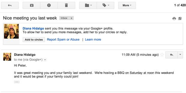 Exemplo de mensagem no Gmail enviada por usuário do Google+ (Foto: Divulgação/Google)