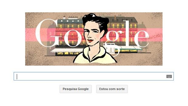 Doodle do Google homenageia aniversário de Simone de Beauvoir (Foto: Reprodução/Google)