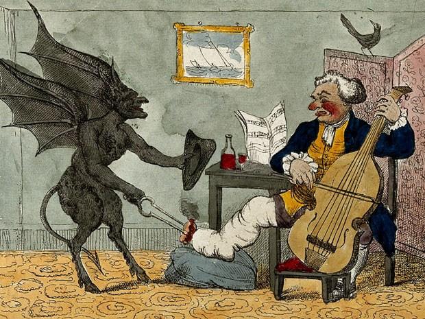 A gota é conhecida como uma das doenças mais dolorosas. Nesta ilustração de HW Bunbury (1785), o diabo está ocupado com o pé de um oficial aposentado da Marinha. Mas o seu nariz vermelho e o vinho à mesa sugerem que a causa de seu mal é menos prosaica (Foto: Wellcome Library)