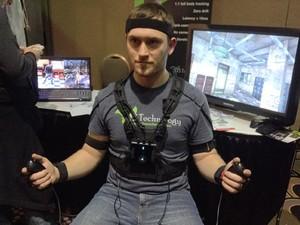 PrioVR é roupa que capta movimento do jogador com precisão e leva para dentro dos jogos (Foto: Gustavo Petró/G1)