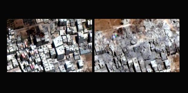 Imagens de satélite mostram imóveis destruídos em Damasco, na Síria, em 16 de julho de 2012 e 22 de setembro de 2012. A Human Rights Watch acusa do governo de promover destruição em massa de bairros (Foto: Human Rights Watch via Digital Globe/AP)