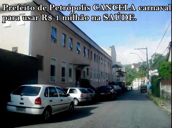 Prefeito de Petrópolis teria cancelado o carnaval em prol da saúde! Será? (foto: Reprodução/Facebook)