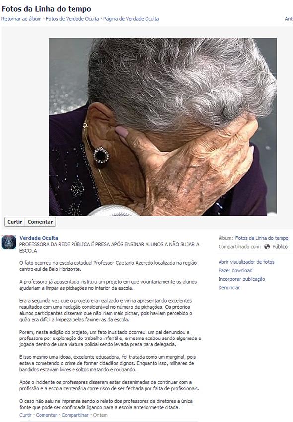 Professora teria sido presa em Belo Horizonte por ensinar os alunos a limparem a escola! (foto: Reprodução/Facebook)